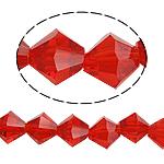 Bicone Crystal Beads, Kristal, gefacetteerde, Siam, 8x8mm, Gat:Ca 1.5mm, Lengte:Ca 10.5 inch, 10strengen/Bag, Verkocht door Bag