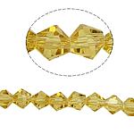 Symetryczne kryształowe koraliki, Kryształ, Podwójny stożek, fasetowany, słoneczny, 6x6mm, otwór:około 1mm, długość:10.5 cal, 10nici/torba, sprzedane przez torba