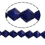Bicone Crystal Beads, Kristal, gefacetteerde, Dark Sapphire, 8x8mm, Gat:Ca 1.5mm, Lengte:10.5 inch, 10strengen/Bag, Verkocht door Bag