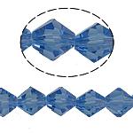 Symetryczne kryształowe koraliki, Kryształ, Podwójny stożek, fasetowany, jasny szafir, 8x8mm, otwór:około 1.5mm, długość:10.5 cal, 10nici/torba, sprzedane przez torba