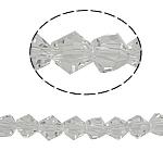 Bicone Crystal Beads, Kristal, gefacetteerde, Greige, 6x6mm, Gat:Ca 0.8-1.2mm, Lengte:Ca 11 inch, 10/