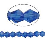 Bicone Crystal Beads, Kristal, gefacetteerde, Saffier, 6x6mm, Gat:Ca 1mm, Lengte:Ca 11.5 inch, 10strengen/Bag, Ca 50pC's/Strand, Verkocht door Bag