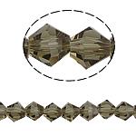 Symetryczne kryształowe koraliki, Kryształ, Podwójny stożek, fasetowany, szarobeżowy, 6x6mm, otwór:około 1mm, długość:12.5 cal, 10nici/torba, sprzedane przez torba