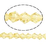 Bicone Crystal Beads, Kristal, gefacetteerde, Lt Topaz, 5x5mm, Gat:Ca 0.5mm, Lengte:11.5 inch, 10strengen/Bag, Verkocht door Bag