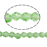 Symetryczne kryształowe koraliki, Kryształ, Podwójny stożek, fasetowany, peridot, 5x5mm, otwór:około 0.5mm, długość:11.5 cal, 10nici/torba, sprzedane przez torba
