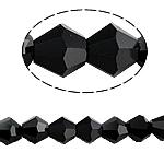 Bicone Crystal Beads, Kristal, gefacetteerde, Jet, 5x5mm, Gat:Ca 0.5mm, Lengte:Ca 11.5 inch, 10strengen/Bag, Ca 60pC's/Strand, Verkocht door Bag