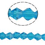 Bicone Crystal Beads, Kristal, gefacetteerde, Aquamarijn, 5x5mm, Gat:Ca 0.5mm, Lengte:11.5 inch, 10strengen/Bag, Verkocht door Bag