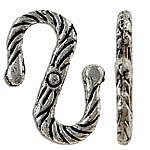 Zapięcie w kształcie S ze stopu cynku, Stop cynku, Platerowane kolorem starego srebra, bez zawartości niklu, ołowiu i kadmu, 15x10x1mm, około 2000komputery/KG, sprzedane przez KG