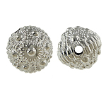 Copper Coated Plastic Beads, Round, platinum color plated, nickel, lead & cadmium free, 15mm, Hole:Approx 3mm, 5Bags/Lot, 200PCs/Bag, Sold By Lot