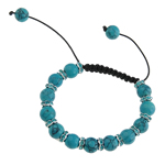Gemstone Shamballa Bracelets, Natural Turquoise, with Wax & Brass, Skull, with rhinestone, 10mm, Sold Per 7 Inch Strand