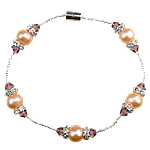 Freshwater Cultured Pearl Bracelet, Freshwater Pearl, with Glass, brass magnetic clasp, 7-8mm, Sold Per Approx 7.5 Inch Strand