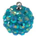 Resin Pendant, Round, blue, 16mm, Hole:Approx 1mm, 50PCs/Bag, Sold By Bag