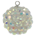 Resin Pendant, Round, white, 16mm, Hole:Approx 1mm, 50PCs/Bag, Sold By Bag