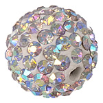 Rhinestone Clay Pave Beads, Round, with 124 pcs rhinestone & with A grade rhinestone, 12mm, Hole:Approx 2mm, 10PCs/Bag, Sold By Bag