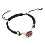 Fashion Shamballa Bracelet, wax cord &amp; rhinestone zinc alloy beads, hand with heart shape design, nickel, lead &amp; cadmium free, 34x16mm, Sold per 7.5-Strand