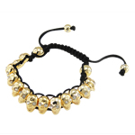 Zinc Alloy Shamballa Bracelets, with Wax, with rhinestone, nickel, lead & cadmium free, 8x13mm, Sold Per 7.5 Inch Strand