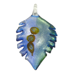 Silver Foil Lampwork Pendants, Leaf, 40x53x6mm, Hole:Approx 7mm, 12PCs/Box, Sold By Box