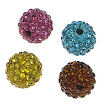 Half Drilled Rhinestone Beads, Clay Pave, Round, with 83 pcs rhinestone & half-drilled, mixed colors, 10mm, Hole:Approx 1mm, 15PCs/Bag, Sold By Bag