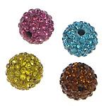 Metà Forato Perline strass, argilla pavimenta, Cerchio, con 83 pezzi di strass & mezzo foro, colori misti, 10mm, Foro:Appross. 1mm, 15PC/borsa, Venduto da borsa