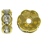 Rhinestone Spacers, Brass, Rondelle, gold color plated, with rhinestone, nickel, lead & cadmium free, 8x8x3.50mm, Hole:Approx 1.5mm, 500PCs/Bag, Sold By Bag