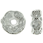 Rhinestone Spacers, Brass, Rondelle, silver color plated, with rhinestone, nickel, lead & cadmium free, 8x8x3.50mm, Hole:Approx 1.5mm, 500PCs/Bag, Sold By Bag
