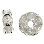 Rhinestone Spacers, with Brass, Donut, silver color plated, 6x6x2.80mm, Hole:Approx 1.8mm, 500PCs/Bag, Sold By Bag