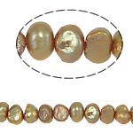 Baroque Cultured Freshwater Pearl Beads, light coffee, 6-7mm, Hole:Approx 0.8mm, Sold Per 14 Inch Strand