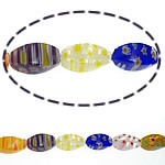 Millefiori Glass Beads, Oval, mixed colors, 6x12mm, Length:15 Inch, 10Strands/Lot, Sold By Lot