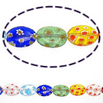Millefiori Glass Beads, 18x13x4mm, Length:15 Inch, 10Strands/Lot, Sold by Lot
