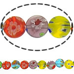 Millefiori Glass Beads, Flat Round, mixed colors, 8x8x3mm, Length:14.5 Inch, 10Strands/Lot, Sold By Lot