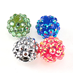 Resin Rhinestone Beads, 12x14mm, Hole:Approx 2mm, Sold by Bag