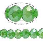Rondelle Crystal Beads, faceted, Fern Green, 6x8mm, Hole:Approx 2mm, Length:16 Inch, 10Strands/Bag, Approx 72PCs/Strand, Sold By Bag