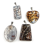 Agate Jewelry Pendants, Ice Flower Agate, with Brass, platinum color plated, 35-42mm, Hole:Approx 7x4.5mm, 5PCs/Bag, Sold By Bag