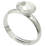 Brass Bezel Ring Base, platinum color plated, adjustable, lead & cadmium free, 8x8mm, US Ring Size:7, 400PCs/Bag, Sold By Bag