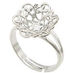 Brass Filigree Ring Base platinum color plated adjustable   hollow lead   cadmium free 13x13mm US Ring Size:5.5 300PCs/Bag