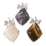 Mixed Gemstone Pendants, with Zinc Alloy, Rhombus, mixed colors, 34x39mm, Hole:Approx 3.5x6mm, 30PCs/Bag, Sold By Bag