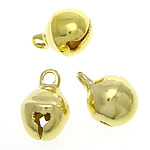 Brass Bell Pendant, gold color plated, nickel, lead & cadmium free, 7.50x10.50mm, Hole:Approx 2mm, 2000PCs/Bag, Sold By Bag