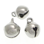 Brass Bell Pendant, platinum color plated, lead & cadmium free, 6x8mm, Hole:Approx 1.5mm, 3000PCs/Bag, Sold By Bag