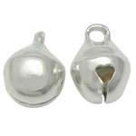 Brass Bell Pendant, silver color plated, nickel, lead & cadmium free, 6x8mm, Hole:Approx 1.5mm, 3000PCs/Bag, Sold By Bag