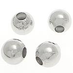 Messing kralen, Ronde, silver plated, glad, lood en cadmium vrij, 3mm, Gat:Ca 1mm, 20000pC's/Bag, Verkocht door Bag
