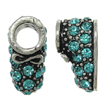 Zinc Alloy European Beads, Shoes, antique silver color plated, without troll & with rhinestone, nickel, lead & cadmium free, 8x12x9mm, Hole:Approx 5mm, 10PCs/Bag, Sold By Bag