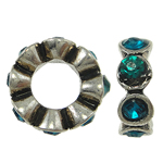 Zinc Alloy Spacer Beads Flower with rhinestone nickel lead   cadmium free 12x4mm Hole:Approx 6mm 10PCs/Bag