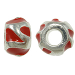 Zinc Alloy European Beads, Drum, without troll & enamel, red, nickel, lead & cadmium free, 12x8mm, Hole:Approx 5mm, 10PCs/Bag, Sold By Bag