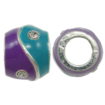 Zinc Alloy European Beads, Rondelle, without troll & enamel & with rhinestone & two tone, nickel, lead & cadmium free, 10x8mm, Hole:Approx 5mm, 10PCs/Bag, Sold By Bag