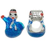 Pandor Kerst Kralen, Zinc Alloy, Sneeuwpop, zonder troll & glazuur, blauw, nikkel, lood en cadmium vrij, 12x14x9mm, Gat:Ca 5mm, 10pC's/Bag, Verkocht door Bag
