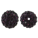 Rhinestone Resin Beads, Round, with rhinestone, Dark Violet, 12x12mm, Hole:Approx 1mm, 10PCs/Bag, Sold By Bag