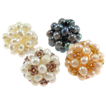 Ball Cluster Cultured Pearl Beads, Freshwater Pearl, Round, mixed colors, 20mm, 4PCs/Bag, Sold By Bag