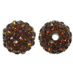 Rhinestone Resin Beads, Round, with rhinestone, Smoked Topaz, 10x10mm, Hole:Approx 2mm, 10PCs/Bag, Sold By Bag