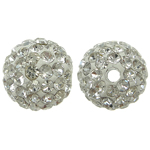 Rhinestone Resin Beads, Round, with rhinestone, Crystal, 10x10mm, Hole:Approx 2mm, 10PCs/Bag, Sold By Bag
