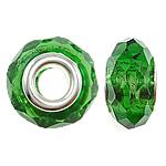European kristalli helmiä, Rondelli, hopeaa Kaksoisjohdin ilman peikko, Fern Green, 14x8mm, Reikä:N. 5mm, 20PC/laukku, Myymät laukku
